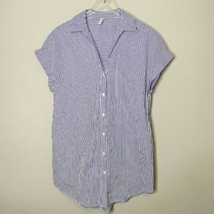 Zara Trafaluc Tunic Dress Shirt S Striped Button